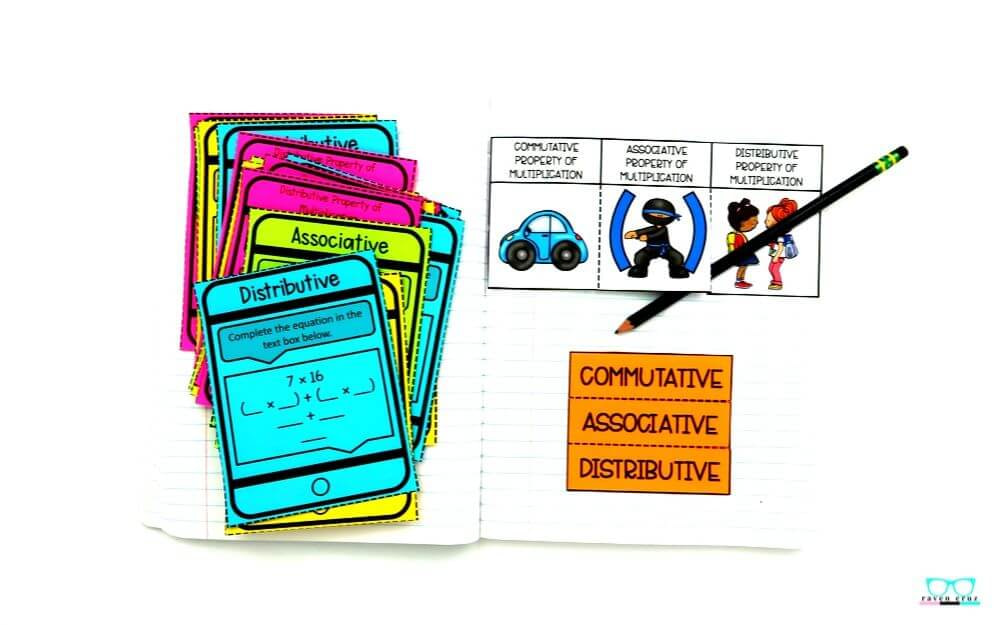 properties of multiplication task cards and interactive notebook