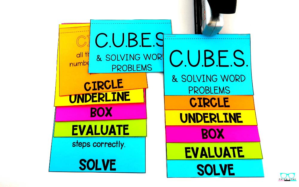 C.U.B.E.S. math strategy flip book printed on colored paper