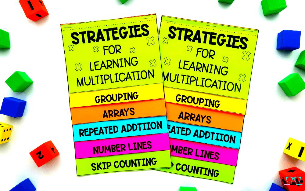 Multiplication strategies flip book for elementary math.