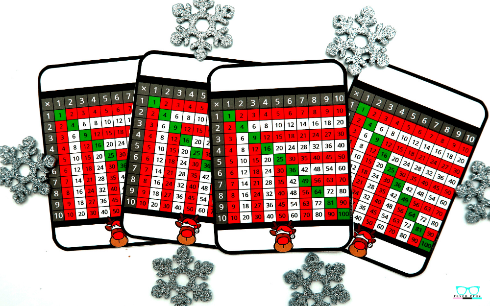 Christmas themed multiplication charts.