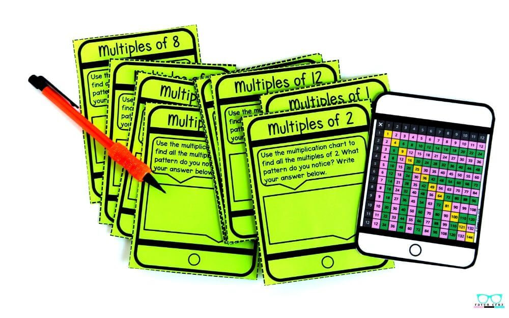 Identifying arithmetic patterns task cards for elementary math.