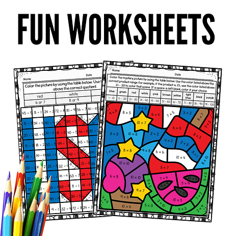 Patriotic 4th of July math mystery pictures and color-by-number worksheets
