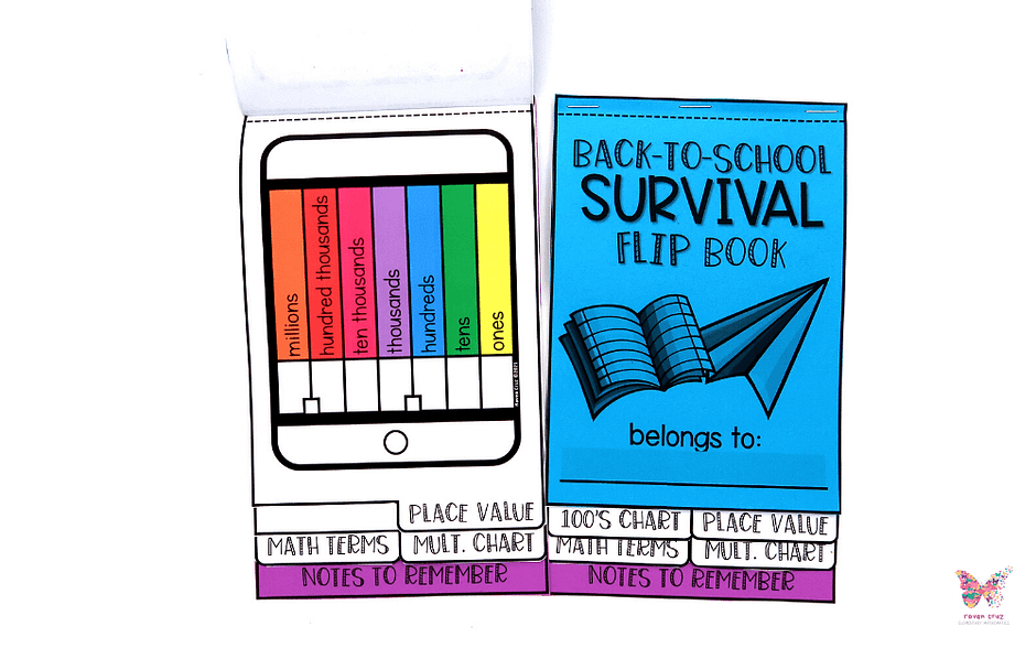 Back-to-school math survival flip book with place value to millions chart.