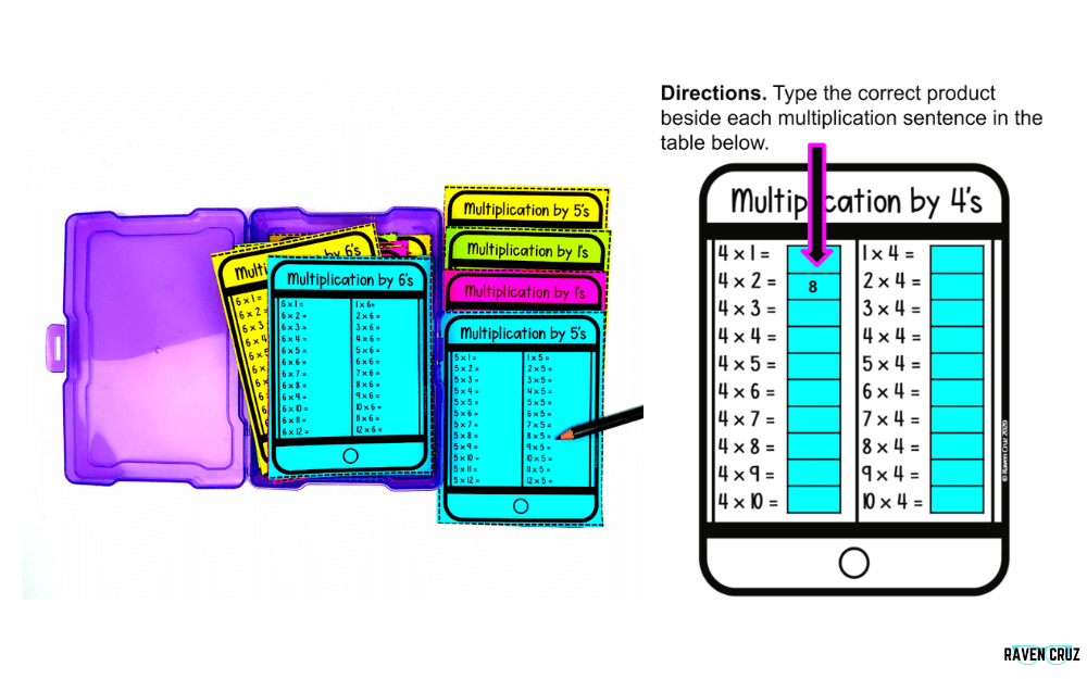 Digital and printable multiplication facts task cards
