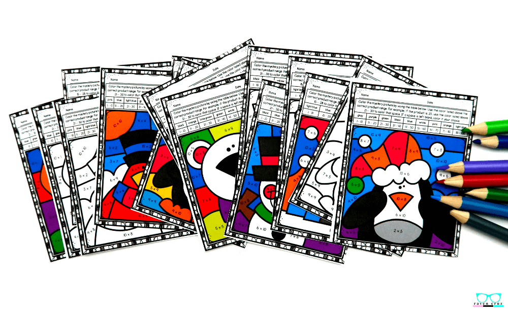 Winter-themed multiplication color by number worksheets for 3rd grade.