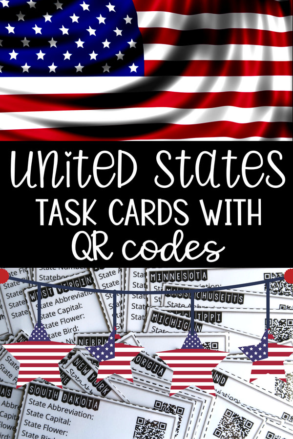 The 50 US states task cards with QR codes.