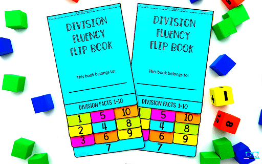 Division fluency math flip book with facts 1-10 printed on colored paper.