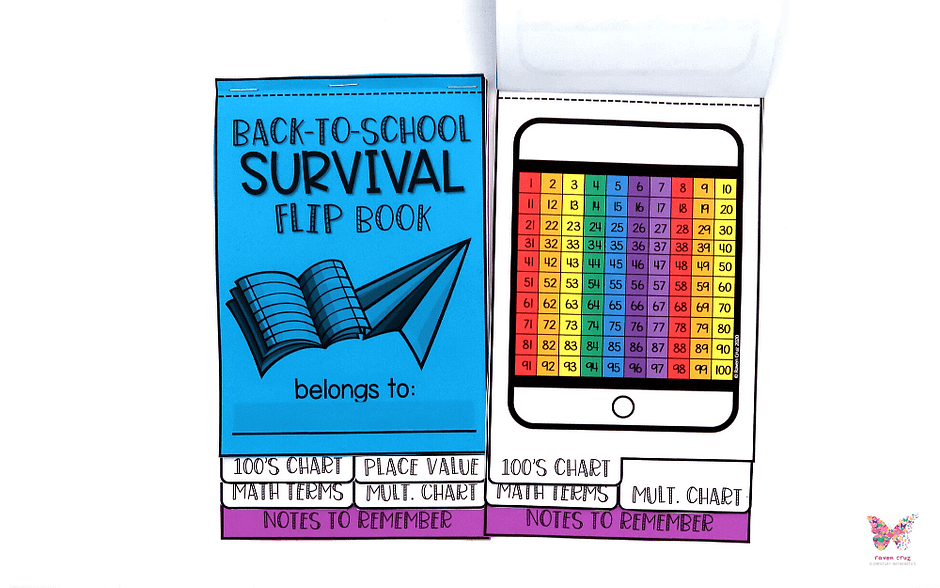 Back-to-school math survival flip book with 100's chart.