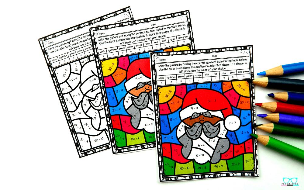 Diverse Santa color by number worksheet for division.