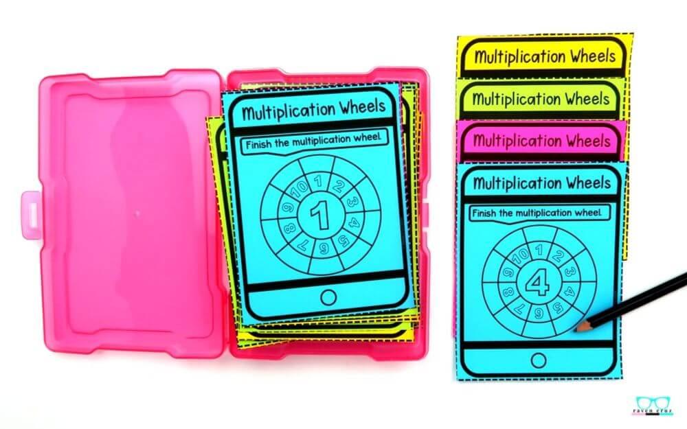multiplication wheel task cards