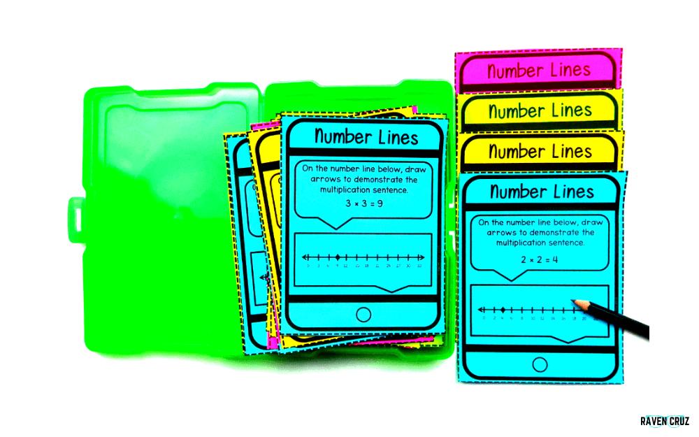 Digital and printable number lines task cards