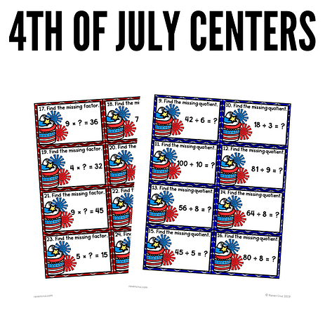 4th of July multiplication and division task cards.