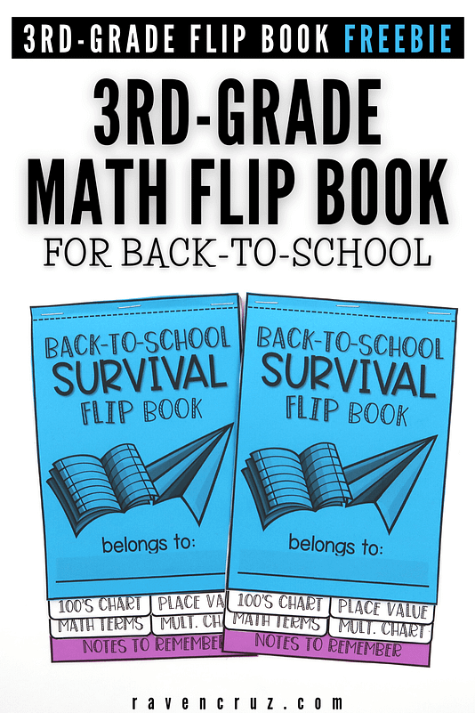 Back-to-school math survival flip book for the first day of 3rd-grade math.