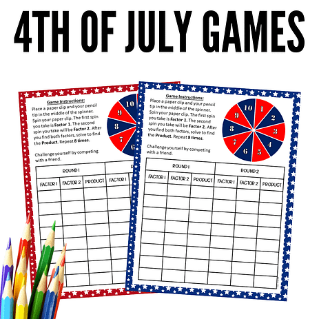 4th of July math activities for 3rd-grade and 4th grade.